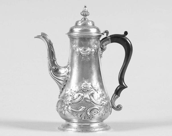 An early George III coffee pot William Shaw II & William Priest, 1760,