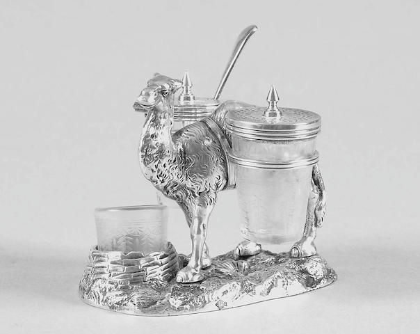 Of rowing interest:- A Victorian novelty camel cruet set design registration lozenge to the body and base,