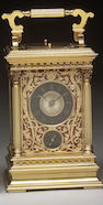 A rare late 19th century French gilt and lacquered brass five minute repeating carriage clock with a