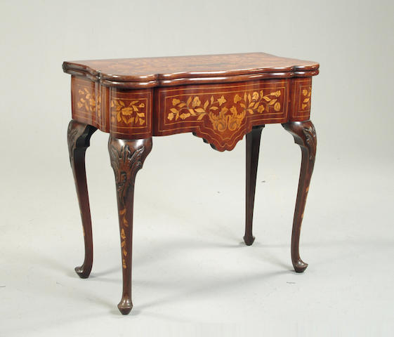 A 19th century Dutch walnut and marquetry card table