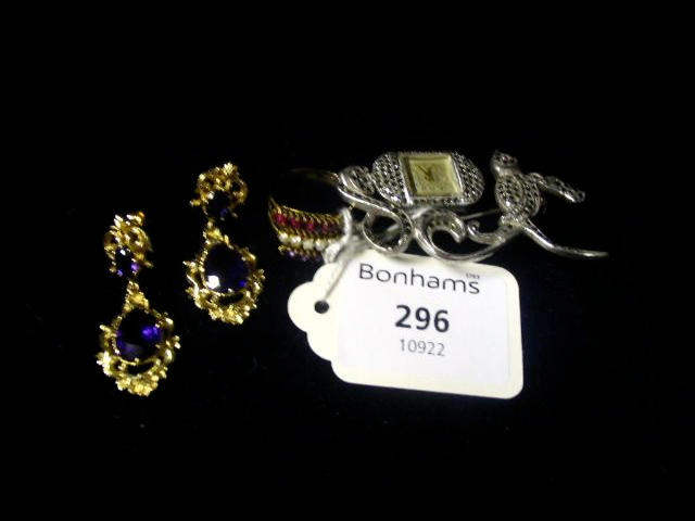 A pair of Victorian style gold and amethyst earrings,