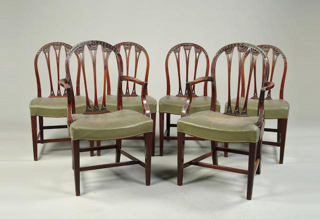 A set of six George III style mahogany chairs