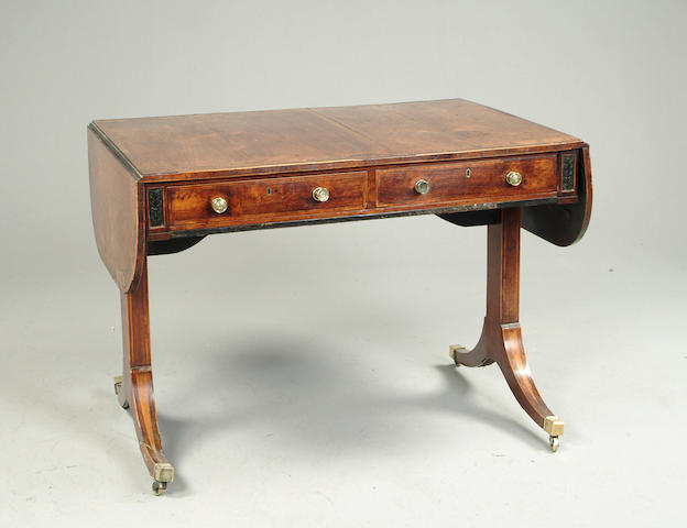 A Regency rosewood and burr yew crossbanded sofa table