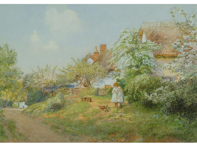 Fritz Althaus (British, fl. 1881-1914), Two girls feeding chickens on a village lane, 24 x 34cm.
