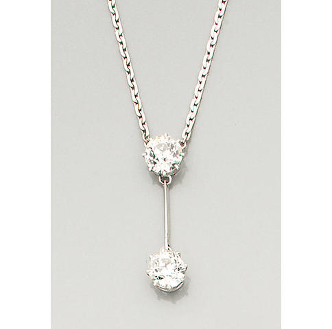 A diamond two-stone pendant