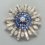 A diamond and synthetic sapphire brooch,