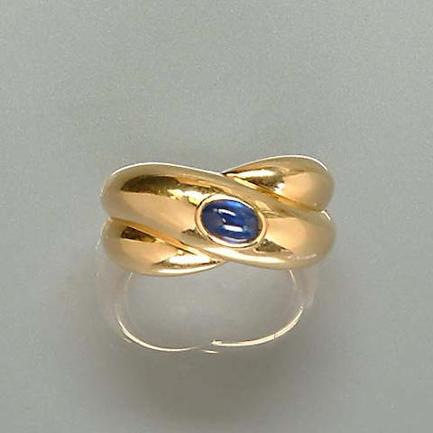 A sapphire dress ring, by Cartier,