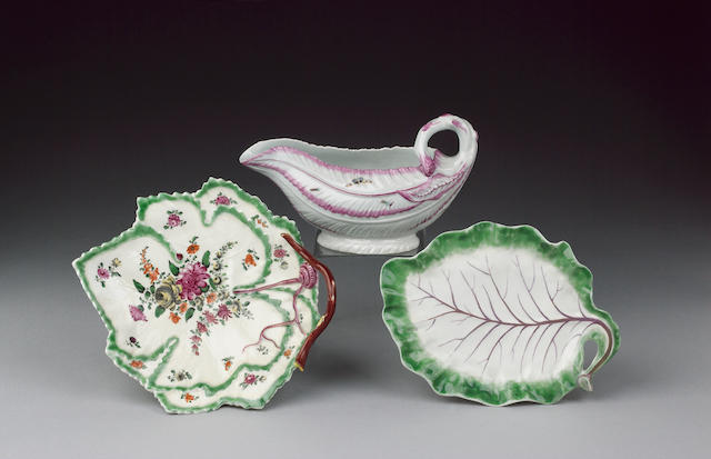 Two Worcester leaf dishes and a sauceboat date range 1755-65