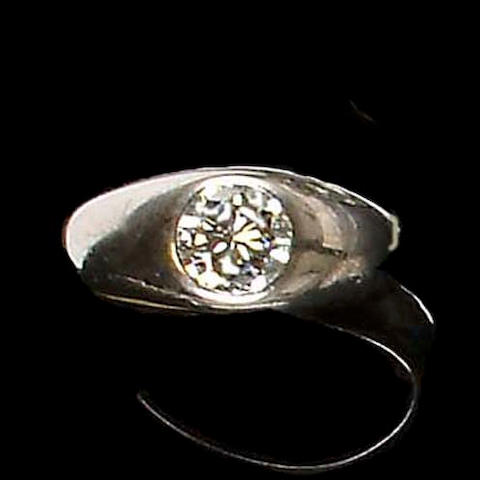 A gentleman's diamond single-stone ring, Swedish,
