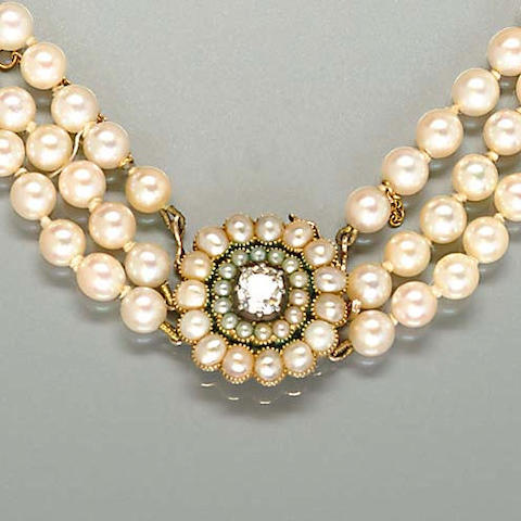 A cultured pearl necklace and an early 19th century diamond and pearl clasp