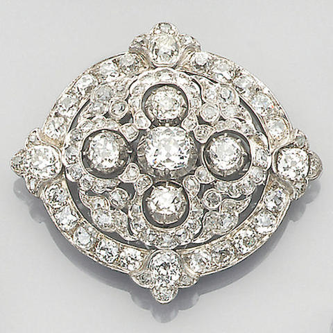 A late Victorian diamond-set brooch, circa 1870,