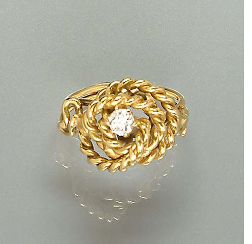 A diamond knot ring,