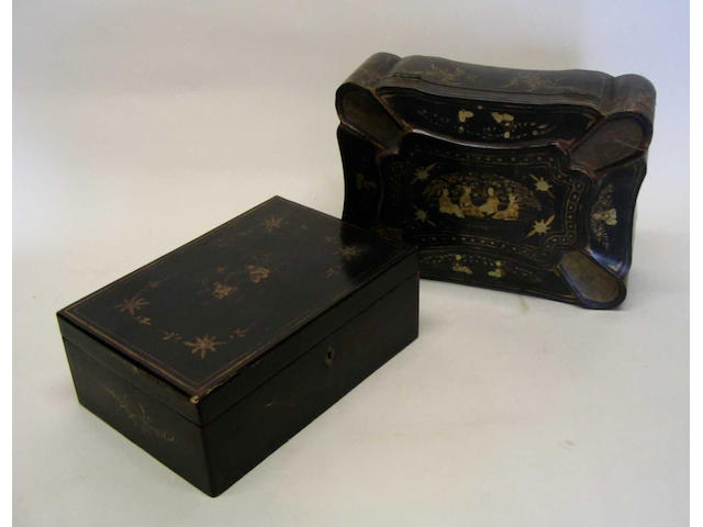 A mid-19th Century Chinese export lacquer sewing box of shaped undulating rectangular form,