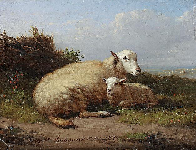 Eugène Joseph Verboeckhoven (Belgian 1798-1881) Sheep and lamb in a landscape 7 x 9 cm. (2 3/4 x 3 1/2 in.)
