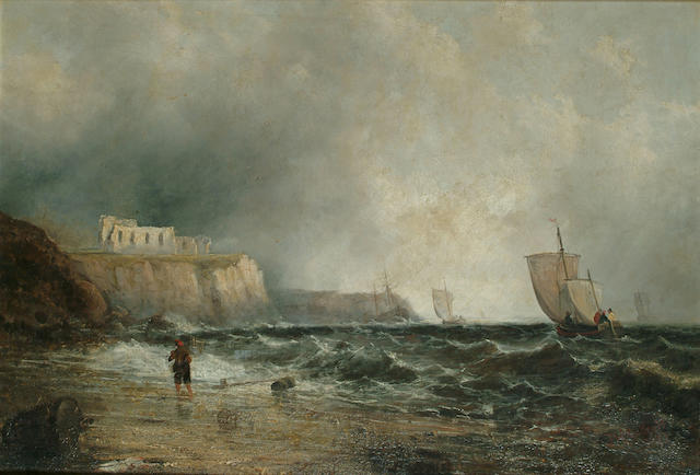 English School, 19th Century Fishing vessels off the coast, a ruin atop the cliffs, 22 3/8 x 32 1/4 in. (57 x 82 cm.)