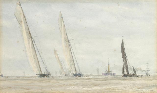 William Lionel Wyllie (British, 1851-1931) 'Britannia and 'Iverna' 10.8 x 8.1cm. (4 1/4 x 7 1/8in.)