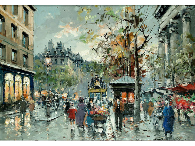 Antoine Blanchard (French, 1910-1988) Beside the Madeleine 13 x 18 in. (33 x 46cm.)
