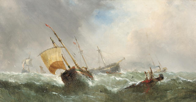 William Callcott Knell (British, c.1830-1876) Shipping in a swell 30.5 x 56cm. (12 x 22in.)