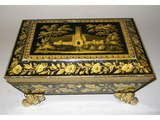 A fine Regency painted and penwork sarcophagus form work box,