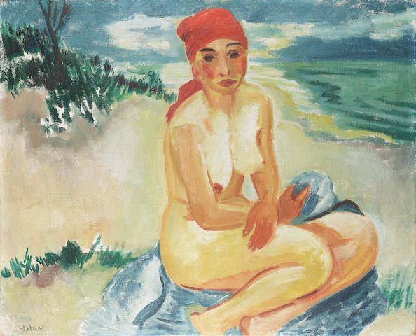 Max Pechstein Girl on the Beach 80 x 100 cm.