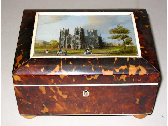 A good early Victorian tortoiseshell work box,