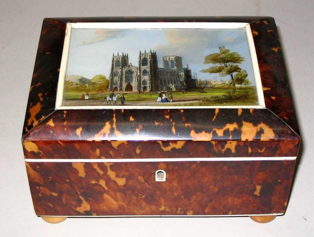 A good early Victorian tortoiseshell work box,
