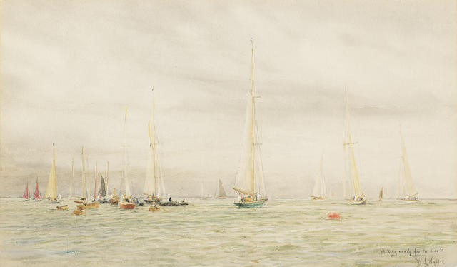 William Lionel Wyllie (British, 1851-1931) Making ready for the start 24.8 x 42cm. (9 3/4 x 16 1/2in.)
