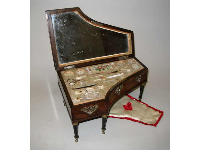 A good mid-19th Century French Palais Royal musical mahogany work box in the form of a grand piano,