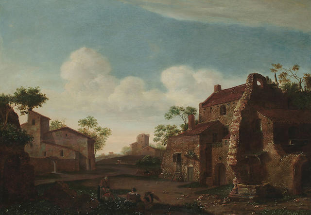 Circle of Emanuel Murant Figures before a farmhouse, 23 1/2 x 33 in. (59.7 x 84 cm.)