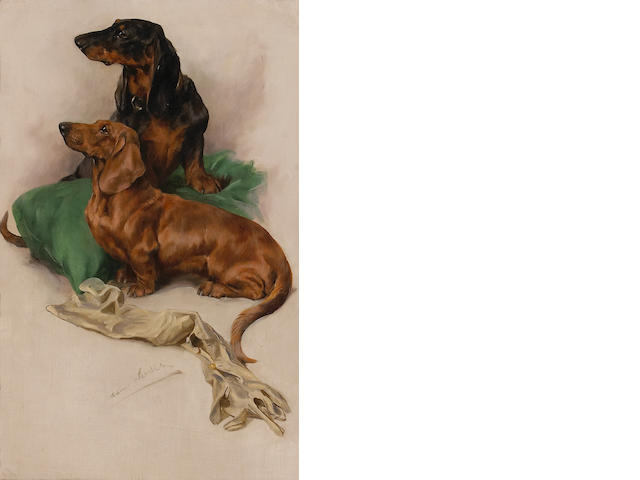 Arthur Wardle RI (British, 1864-1949) Dachshunds 22 x 14 1/4 inches (55.9 x 36.2 cm)