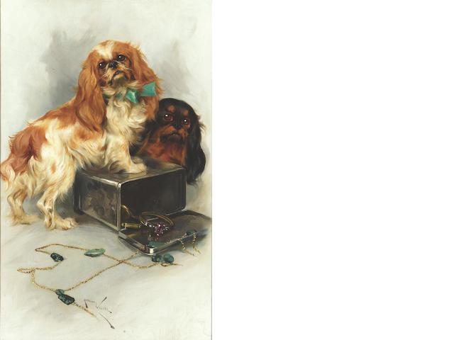 Arthur Wardle RI (British 1864-1949) Cavalier King Charles Spaniels 22 x 14 1/4 in. (56 x 36.5 cm.)