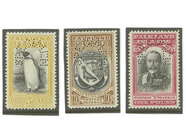 """Falkland Islands: 1933 Centenary ½d. to £1 set, all perfd. """"SPECIMEN"""", mainly fine. S.G. £2500. Ex John Ayre. (208)"""