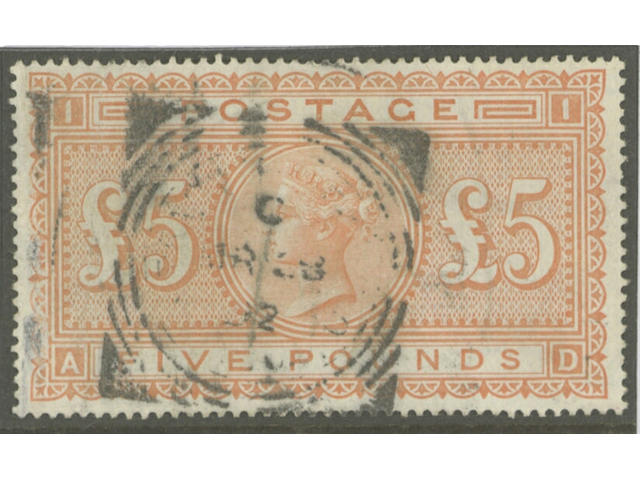 1882-83 wmk. Anchor on white paper: £5 orange AD, used, few faults, otherwise fine.