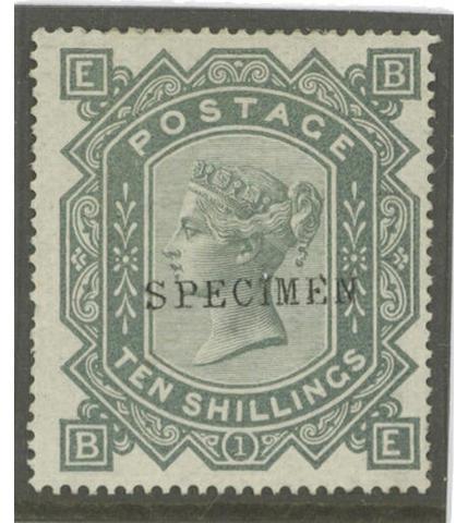"""1867-78 wmk. Maltese Cross: 10/- greenish-grey BE, optd. """"SPECIMEN"""" type 9, finer and fresh. S.G. Spec. £2000."""