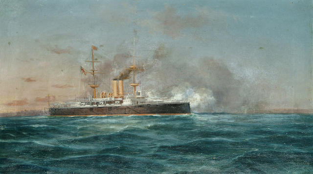 Tommaso de Simone A naval frigate in action, 13 3/8 x 23 5/8 in. (34.2 x 60.2 cm.)