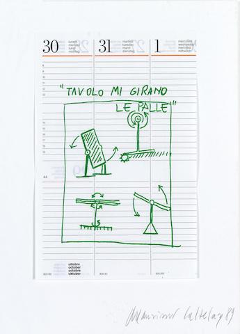 Maurizio Cattelan (b.1960) Untitled, 1989 60 x 52.5 cm.