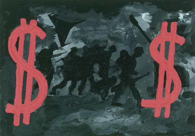 Derek Boshier (b.1937) We're Bullish about War, $ 11.5 x 16 cm. (4 1/4 x 6 1/4 in.)
