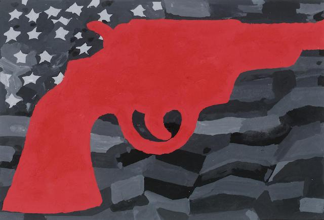 Derek Boshier (b.1937) Heritage (Red Gun) 11.5 x 16 cm. (4 1/2 x 6 1/4 in.)