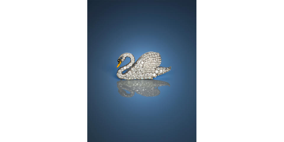 Diamond set swan brooch,