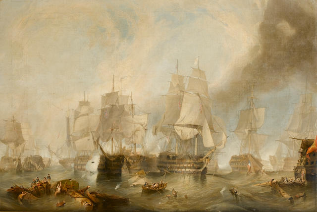 M.** Thompson (British, 19th. Century) The Battle of Trafalgar 76 x 111.4cm. (29 7/8 x 43 7/8in.)