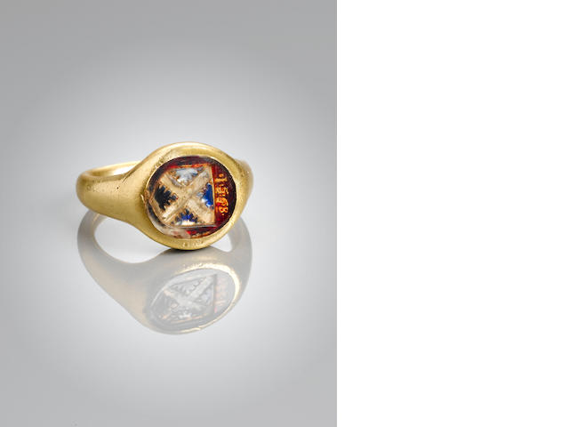 A gold and foiled crystal armorial signet ring, English, 1568,