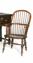 A 19th Century ash and beech stick back windsor chair,