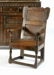 A late 17th Century oak wainscot chair,