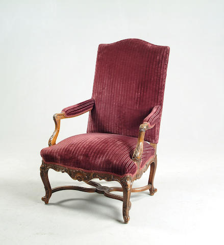 Louis XV style walnut framed fauteuil