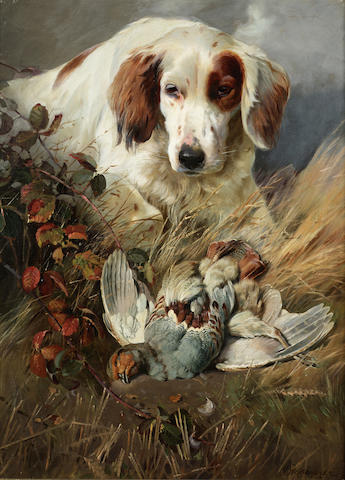 William Woodhouse (British 1857-1939) Setter with game 24 x 18 inches (61 x 45.5 cm.)