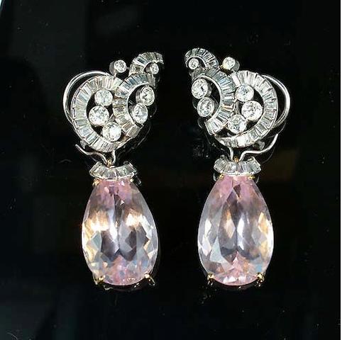 A pair of morganite and diamond pendent earrings,