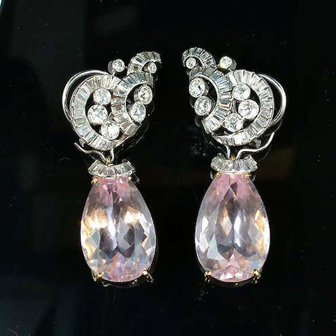 A pair of morganite and diamond pendent earrings,