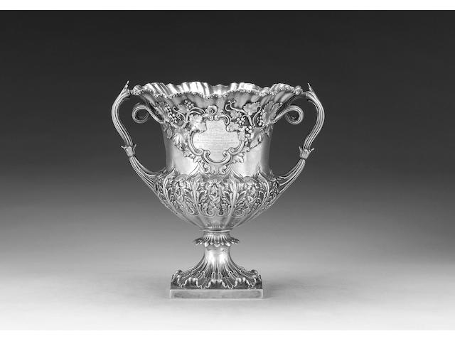 An early Victorian silver campana-shaped two-handled cup, by Messrs. Barnard, London 1838,