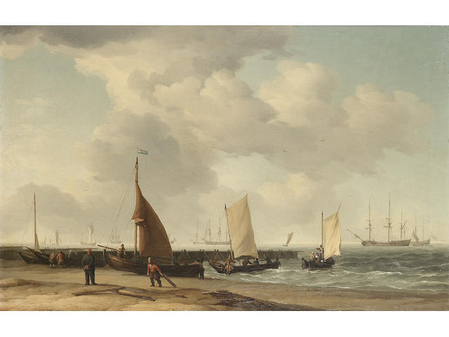 Charles Brooking (British, 1723-1759) A beach scene with men-o-war in the distance 38 x 58.4cm. (15 x 23in.)
