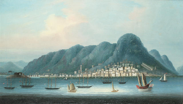 Anglo-Chinese School, 19th. Century A view of Hong Kong 45.7 x 78.8cm. (18 x 31in.) in an original h